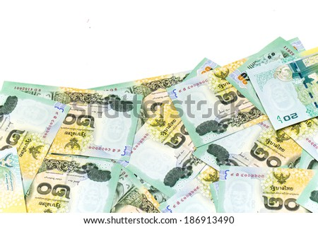 Thai money 20 baht isolated on white , thai bank note background