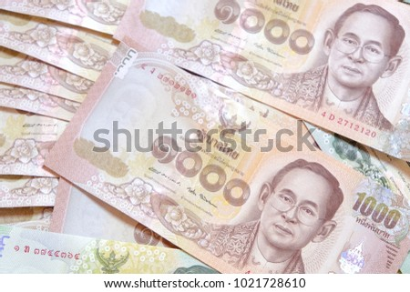 Thai money banknotes closeup background.
