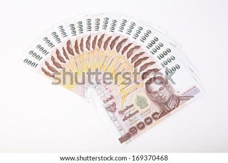 Thai money  on white background  - stock photo