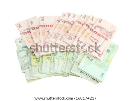 Thai money on white background (with clipping path)