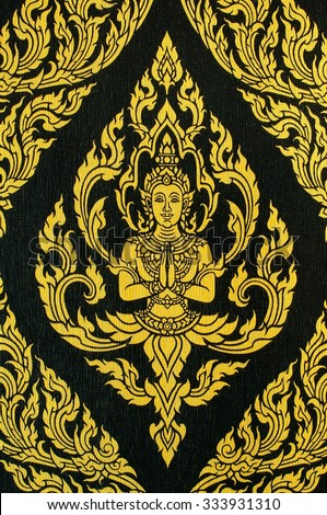 Thai Mural, Ancient Thai style painting on wall in Thailand buddhist public temple - stock photo