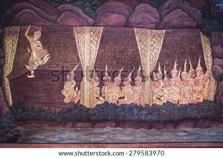 Thai Mural, Bangkok - stock photo