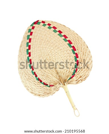 Thai native fan made from bamboo on white background - stock photo