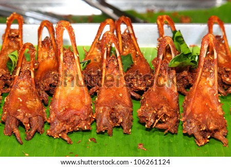 "Thai native food "" Duck Lip Fry"", A favorite food for main course and snack in Thailand. - stock photo"