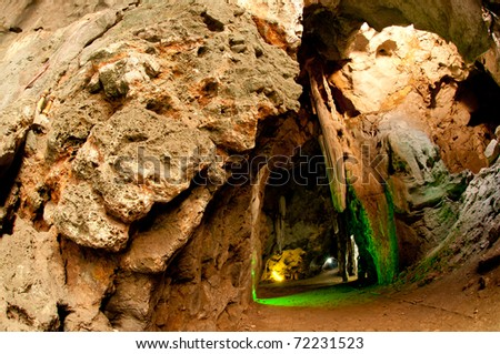 Thai Natural Tunnel in Thailand - stock photo