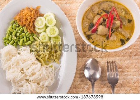 Thai noodle and spicy curry. - stock photo