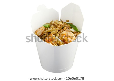 Thai noodle Pan Thai in wok meal package - stock photo