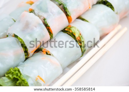 Thai noodle with spicy sauce, clean and healthy food. - stock photo