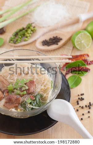 thai noodles with selective focus and low contrast - stock photo
