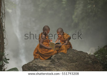 Thai Novices monk in the forest