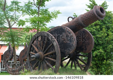 thai old cannon - stock photo