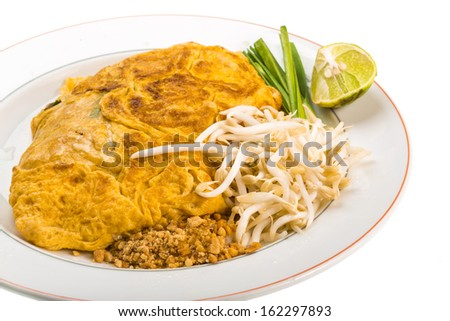 Thai omelette with shrimps isolated
