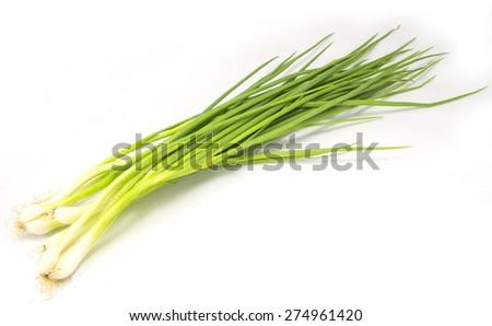 Thai onion spring group on sack background - stock photo