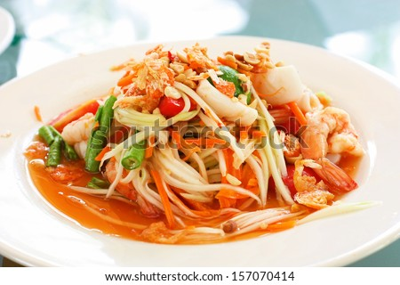 Thai papaya spicy salad or know as Som Tum