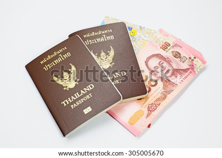 Thai passport and money Isolate on white background