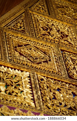 thai pattern on the wall  - stock photo