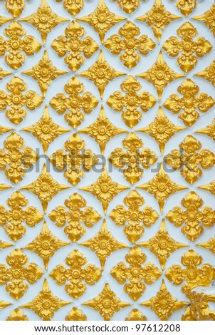 Thai pattern with gold painting - stock photo