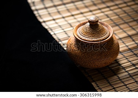 Thai pot made from wood, Handcrafted, Place on wood mat