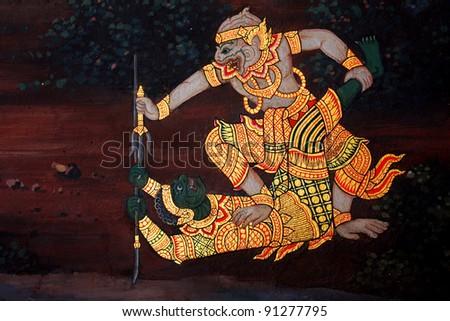Thai Ramayana painting. - stock photo