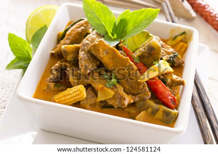 thai red curry with beef - stock photo