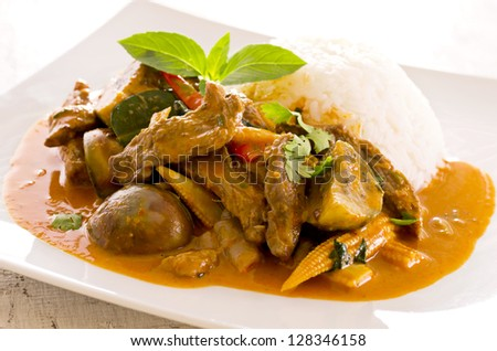 thai red curry with beef and rice - stock photo