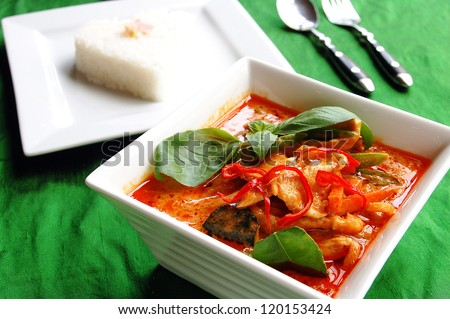 Thai red curry with jasmine rice backround - stock photo