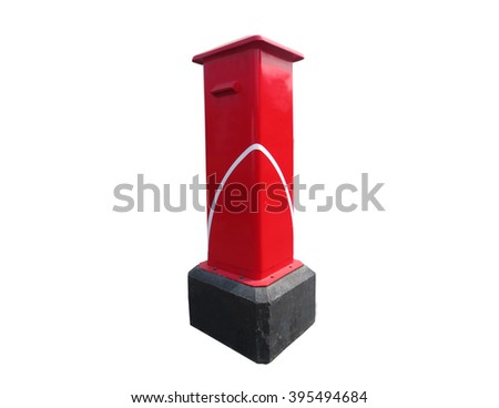 Thai red mail box isolated on a white background - stock photo