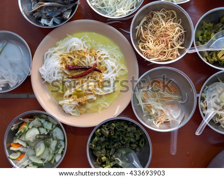 Thai rice vermicelli has eaten with Curried crab sauce and side dish  A famous on Phuket, Thailand
