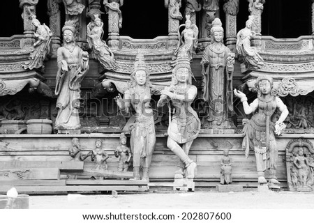 Thai sculpture buddhism in black and white - stock photo