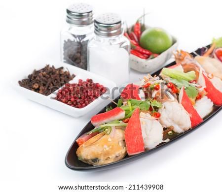 Thai sea food salad with white background - stock photo