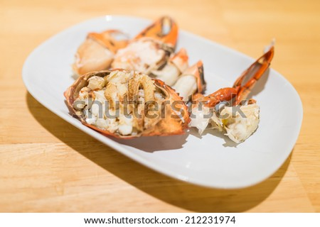 Thai seafood, steamed crab ready to eat - stock photo