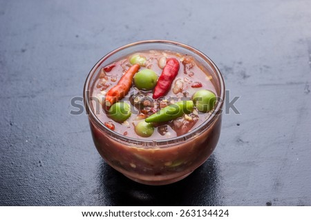 Thai Shrimp Paste Chile Sauce. In Thai called Nam Prik Kapi  - stock photo