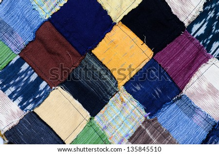 Thai silk fabric pattern background - stock photo