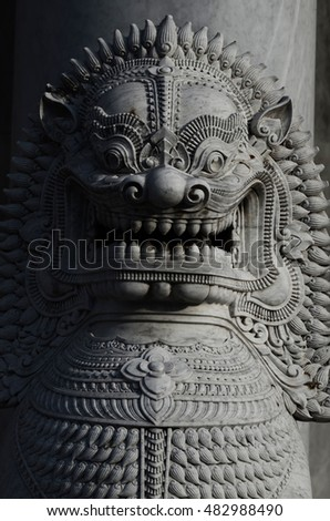 Thai SINGHA Sculpture in front of The Marble Temple, Wat Benchamabopitr Dusitvanaram Bangkok THAILAND