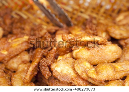 Thai snack, sweetened fried banana fritters