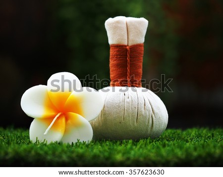 Thai spa massage compress balls, herbal ball  with flower.Spa, Thailand - stock photo