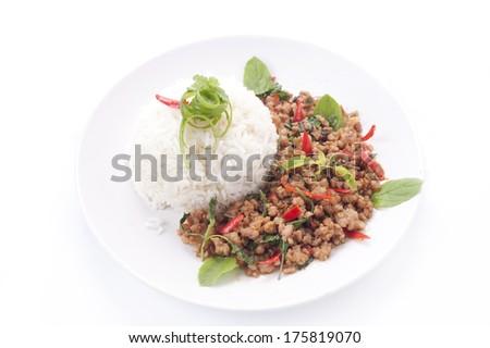 Thai spicy food basil pork fried rice recipe (Krapao pork)  - stock photo