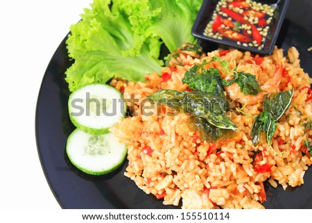 Thai spicy food basil shrimp fried rice recipe - stock photo