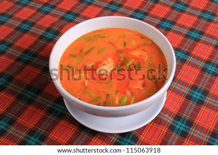Thai Spicy Soup with Shrimp - stock photo