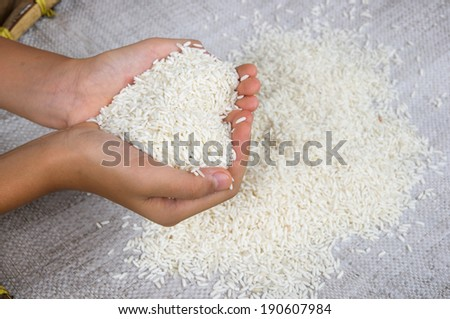 Thai stick rice on hand