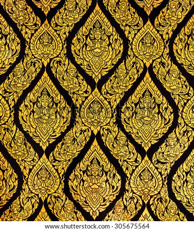 Thai style art of pattern on the door in temple, Thailand. Texture Background - stock photo