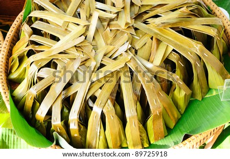 Thai style banana leaf wrapped