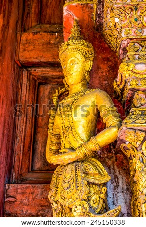 Thai style carving art at temple, Thailand - stock photo
