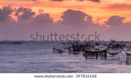 Thai style fishing trap in Pak Pra Village, Net Fishing Thailand, Thailand Shrimp Fishing, Phatthalung, Thailand. - stock photo