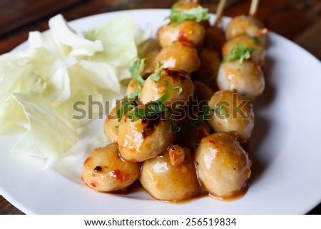 Thai Style Grilled Meat Ball with Sweet and Spicy Sauce - stock photo