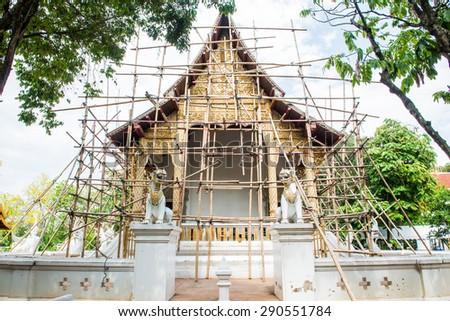 Thai Style Lanna Church of Darabhirom Forest Monastery at Chiangmai Province, Thailand. - stock photo