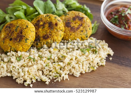 Thai style of tofu cakes with finely chopped cabbage, watercress leaves and chilli and tomato dip. For vegan and it's gluten free.