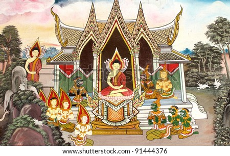 Thai style painting art, painted on Wall. - stock photo