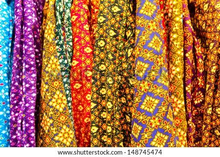 Thai style sarong texture in market - stock photo