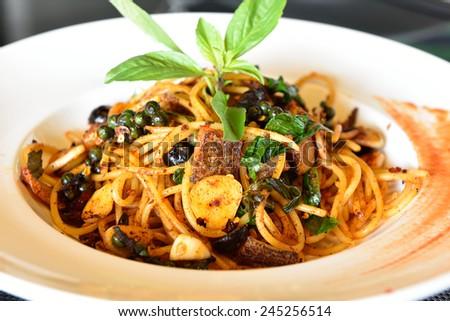Thai Style Spicy Spaghetti - stock photo